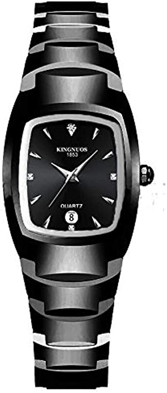 Relojes De Pulsera,Moda Acero De Tungsteno Color Cuadrado Estilo De Pareja Banda De Acero Calendario Reloj Reloj Luminoso Impermeable