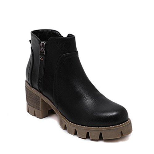 Rutschfeste Schnürstiefeletten Casual Damen Reißverschluss Blockabsatz Schuhe Klobige IwYxFxqd