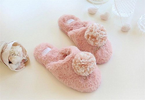 mhgao Lady sintética conejo pelo super suave Zapatillas de algodón caliente en otoño y invierno en casa Cute Fluffy Zapatillas de algodón, 1, large