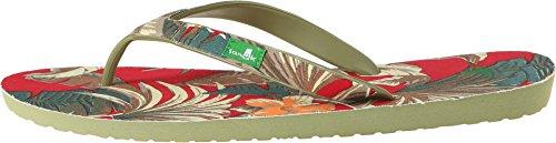 Sanuk Mens Palm Diggity Rode / Natuurlijke Tropische Sandaal 9 D - Medium