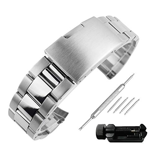 Beauty7 26mm Silver Curved End Polished Brushed Mixed 316L Stainless Steel Link Watch Band Straps Replacement Bracelet Fold Over Clasp for Men Women Watches Smartwatch Gear