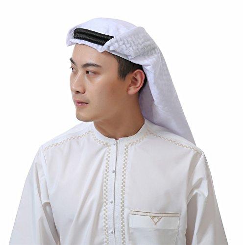 KEEN ZTQ Classic Middle Eastern Pattern Arabic Head Cover Turban for Men Men's Muslim Headscarf (White)