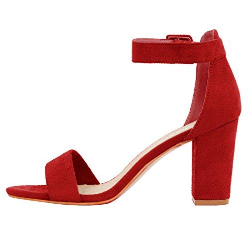 Allegra K Mujer Tacón Grueso Sandalias Tira En Tobillo Rojo