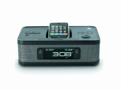 Memorex MI4703P 30-pin Dual Alarm Clock Radio for iPod and iPhone - Memorex Station Docking