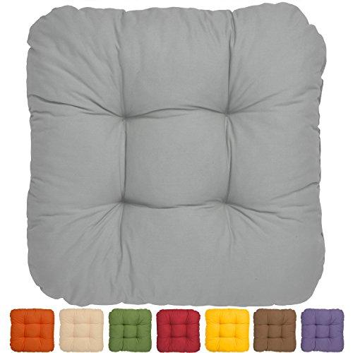 Bequemes Stuhlkissen Lisa - 40x40x8 cm - Grau - Besonders stark gepolstertes, weiches Sitzkissen