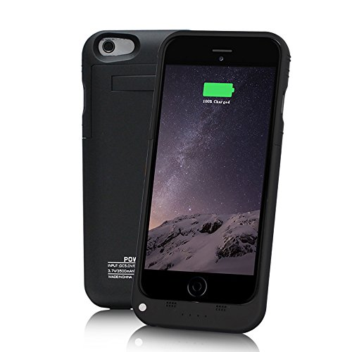 "YHhao 3500mAh Charger Case for iPhone 6 / 6s Portable Cell Phone Battery Charger Slim Extended Battery Case Back up Power Bank Rechargeable Charger Case with Stand 4.7"" for iPhone 6/6s (Medium Black)"