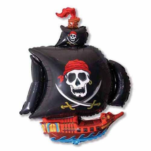 - LA Balloons Foil Balloon 901669-BLK Pirate Ship - Black, 41