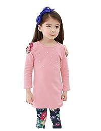 Theplus Girl Long Sleeve T-shirt Tops + Flower Print Legging Set