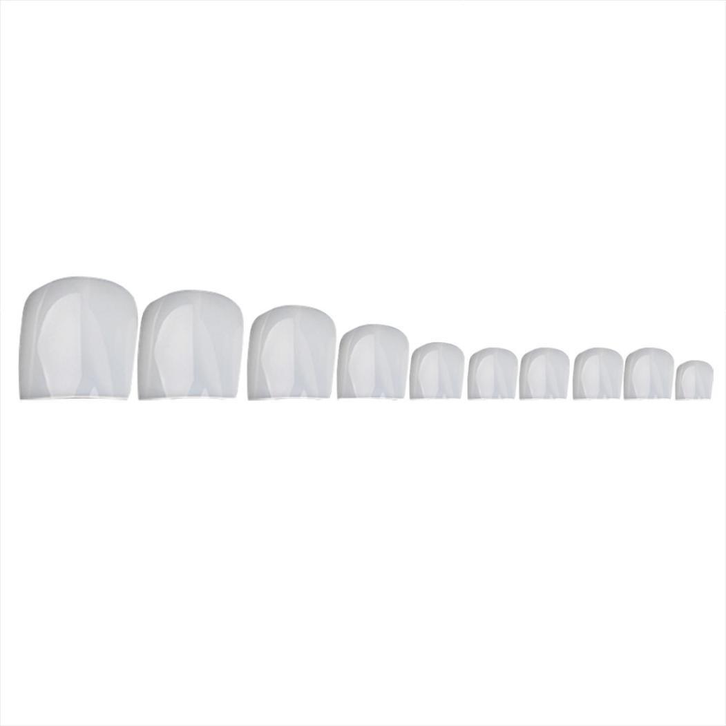 Aribelly 500 Pcs Artificial Nails Fake Sticker Natural Acrylic False Toe Nails Tips (Clear)