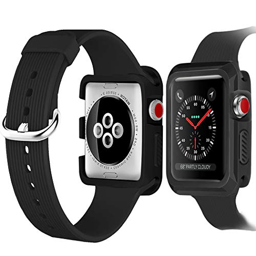 baozai Compatible Apple Watch Case with Band, Shock-Proof Protective Case with Silicone Sport iWatch Band for Apple Watch Series 3/2/1 (42mm Black Band+Black Case)