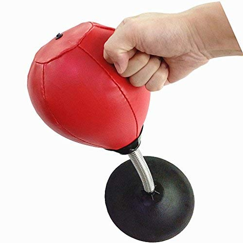 GoECO MN245 Leather Stress Buster Desktop Punching Bag Heavy Duty Suction Freestanding Reflex Bag Kit For Adults Kids Home Office ()