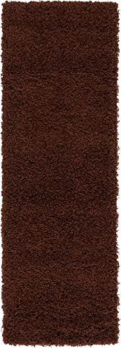Unique Loom Solo Solid Shag Collection Modern Plush Chocolate Brown Runner Rug (2' 2 x 6' 5) ()