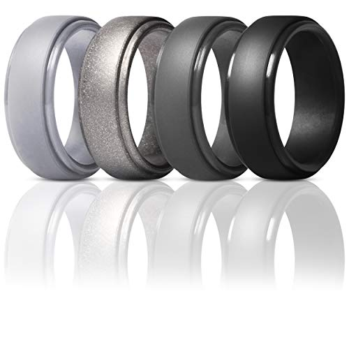 ThunderFit Silicone Rings for Men - 4 Pack Rubber Wedding Bands (Gun Metal, Silver, Black, Dark Grey, 8.5-9 (18.9mm))