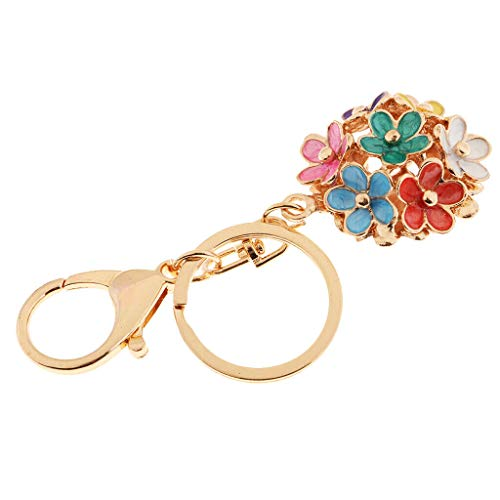 Scout Flower Ring - NATFUR Fashion Enamel Five Leaves Flower Keychain Ring Holder Charm Pendant Gifts for Girls Elegant Great Lovely Beauteous Goodly | Color - Colorful
