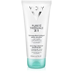 Vichy Pureté Thermale 3-in-1 One Step Face Wash Cleanser and Eye Makeup Remover for Sensitive Skin, 6.7 Fl. Oz.