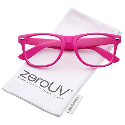 zeroUV - Retro Wide Arm Square Clear Lens Horn Rimmed Eyeglasses 54mm (Pink / - Glasses Big Pink