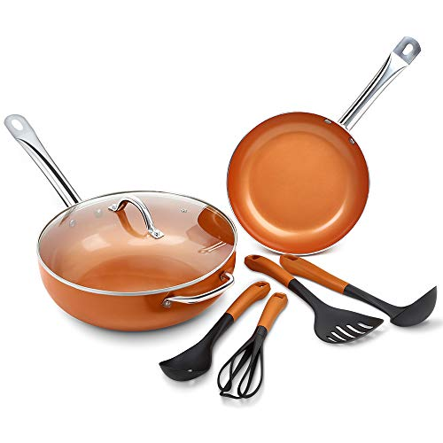 SHINEURI 7 Pieces Nonstick Ceramic Copper Cookware Set - 12 Inch Woks and Stir Fry Pans with Lid, Kitchen Cooking Utensils and 9.5 Inch Round Frying Pans with Induction Base & Stainless Steel Handle