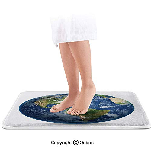 (World Map Bath Mat,Planet Earth Picture from Space Satellite Continents Clouds Picture,Plush Bathroom Decor Mat with Non Slip Backing,32 X 20 Inches,Navy Blue Green White)