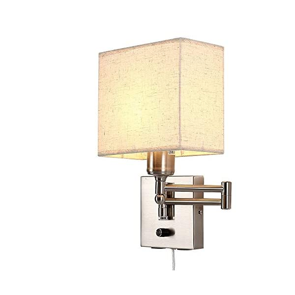 Bedside Wall Mount Light with USB Port and Dimmable Switch, Swing Arm Fabric Shade Wall Sconce Light with Plug in Cord…