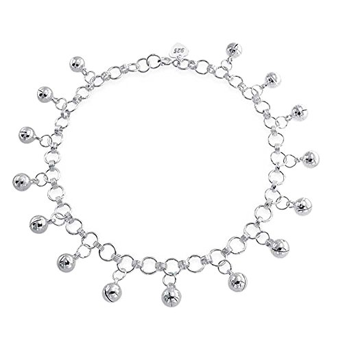 Bling Jewelry Sterling Silver Jingle Bells Bead Charm Anklet Bracelet 9in