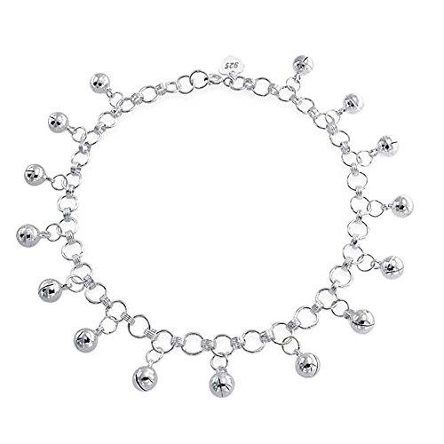 Bling Jewelry Sterling Silver Jingle Bells Bead Charm Anklet Bracelet 9in
