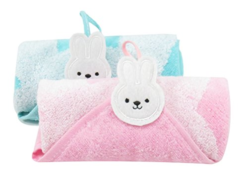 Rabbit Bunny Washcloths Hand Towels 12 x 12 Inches Pink Blue (2 Piece Set)
