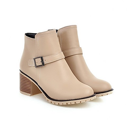 Allhqfashion Women's Kitten Heels Soft Material Low-Top Solid Zipper Boots Apricot BAeZQ