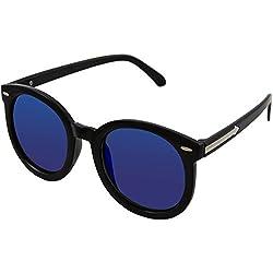 Women's UV 400 Sunglasses - 2015 Round Style Designer Inspired - Who Owns This Brand? You Do! (Shiny Black Frame, Blue Lens)