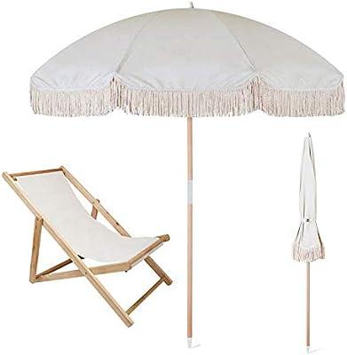 JFFFFWI Parasol de jardín Sombrilla de Playa con Flecos Protección Solar 100% UV Portátil y fácil de Instalar en la Arena y Seguro en el Viento: Amazon.es: Hogar