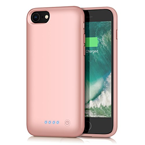 Battery Case for iPhone 8/7, Feob 6000mAh Portable Rechargeable Charger Case Extended Battery Pack for Apple iPhone 8 & iPhone 7 Protective Charging Case Ultra Slim(4.7 inch)(Rose Gold)