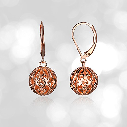 14k Rose Gold Plated Sterling Silver Filigree Ball Leverback ()