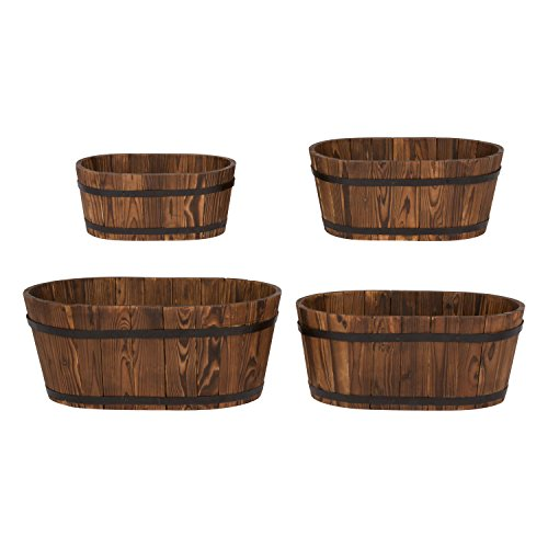 Wood Oval Planter - Shine Company Inc. 5020BT Oval Cedar Barrel Set, Burnt Brown