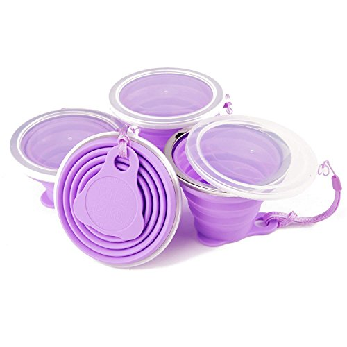 Collapsible Travel Cup, Certified BPA Free Silicone 9.22oz Drinking Mug with Lid - Water, Coffee, Coca Cola and Snacks for Hiking, Camping, Picnic(Purple-4 Pcs) ()