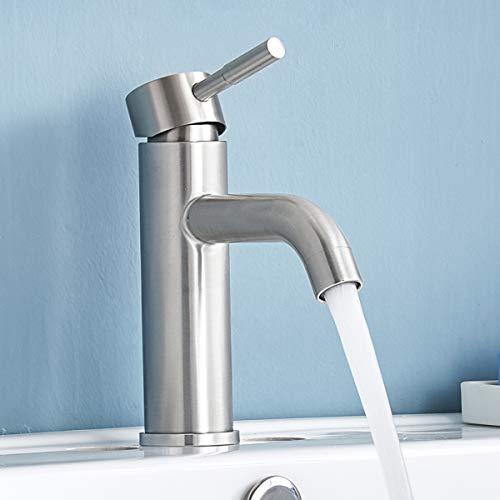 (Shaco Commercial Stainless Steel Vanity Single Handle Bathroom Faucet ,Brushed Nickel Bathroom Sink Faucets)