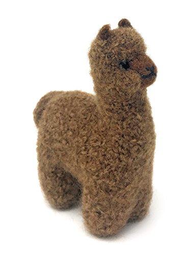 Toys Alpaca (Felted Lifelike Alpaca Figure & Ornament, Handmade from 100% Alpaca Wool Yarn (Dark Brown))