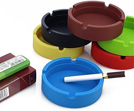 8.5/×2.2cm Kenkop Cendrier en Silicone Portable Forme Ronde Bleu Silicone