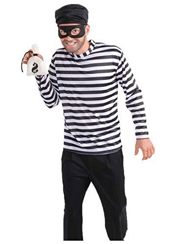 JJ-GOGO Robber Costume Men - Fancy Halloween Burglar Costume Kit Adult Mens Bank Robber Costume ()