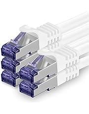 Cat.7 nätverkskabel 1m - vit - 5 delar - Cat7 patchkabel (SFTP/PIMF/LSZH) råkabel 10 Gb/s med Rj 45-kontakt Cat.6a - 5 x 1 meter vit