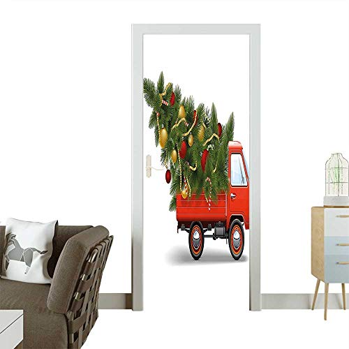 - Door Sticker Wall Decals Reindeer Racing in Red Vintage Car with Xmas Tree Horn Santa Hat Winter Easy to Peel and StickW32 x H80 INCH