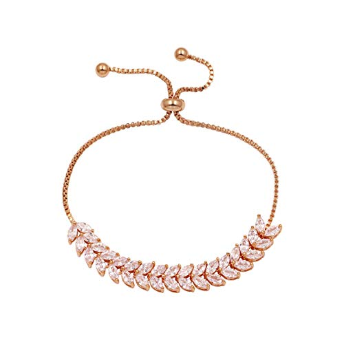 - WeimanJewelry Cubic Zirconia Crystal Double Layer Marquise Shaped CZ Bridal Adjustable Chain Bracelet for Women Wedding (Rose Gold)