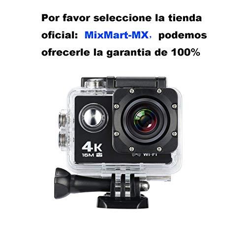 MixMart Cámara Deportiva 4K WiFi Impermeable Sumergible hasta 30m Sensor de Sony 16MP Ultra HD Gran Angular Lente de 170...