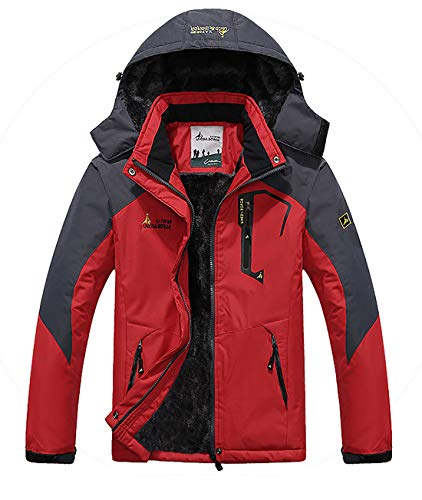 MAGE MALE Men's Outdoor Mountain Ski Jacket Snow Waterproof Fleece Windproof Skiing Rain Jackets Hooded
