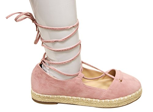 Chase & Chloe Wesley-1 Womens round toe espadrille tie wrap flat suede sandals Rose Pink tfgbEF