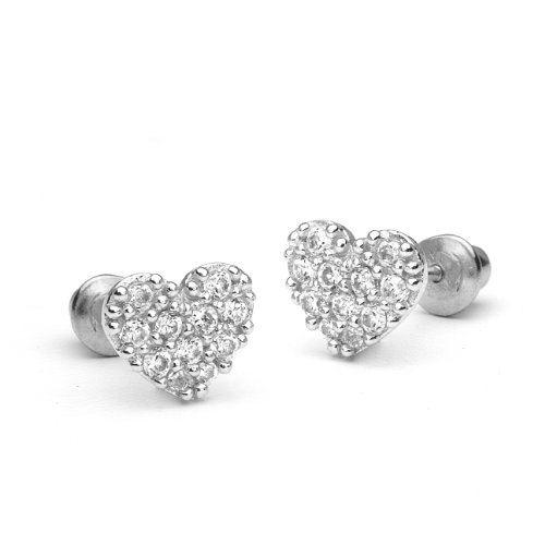 925 Sterling Silver Rhodium Plated Pave Heart Cubic Zirconia Screwback Baby Girls Earrings