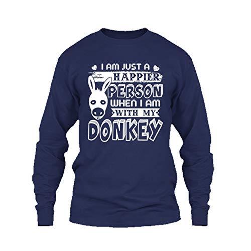 Eleven Garlic Happy with My Donkey Unisex Shirt, Long Sleeve Tshirt, Gift (XL,Navy)