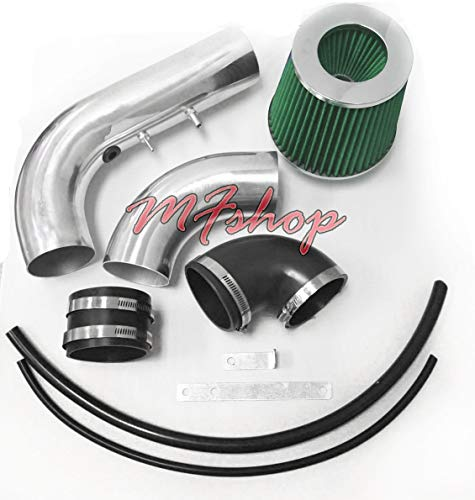 2002 2003 2004 2005 Chevy Cavalier and Pontiac Sunfire with 2.2L L4 Engine Air Intake Filter System (Black Accessories with Green Filter)