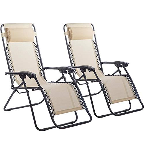 New Zero Gravity Chairs Case of 2 Lounge Patio Chairs Outdoor Yard Beach O62 (Tan)