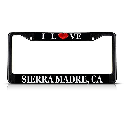 1 Madre Heart - Sign Destination Metal License Plate Frame Solid Insert I Love Heart Sierra Madre, Ca Car Auto Tag Holder - Black 2 Holes, One Frame