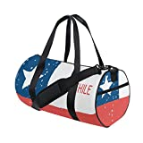 Distressed Chile Flag Travel Duffel Shoulder Bag ,Sports Gym Fitness Bags