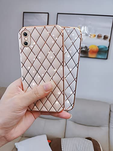 Gimigo Compatible with iPhone X/XS Case for Women, Cute Sparkle Luxurly Plating Lattice Design, Full Camera Lens Protection + Shockproof Edge Bumper TPU Cover Case for iPhone X/XS [5.8inches] -Pink